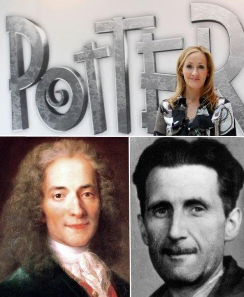 JK Rowling (viršuje), Volteras (kairėje) ir George'as Orwellas