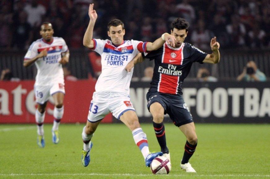 """""""Paris St Germain"""" ir """"Lyon"""" rungtynių akimirka"""