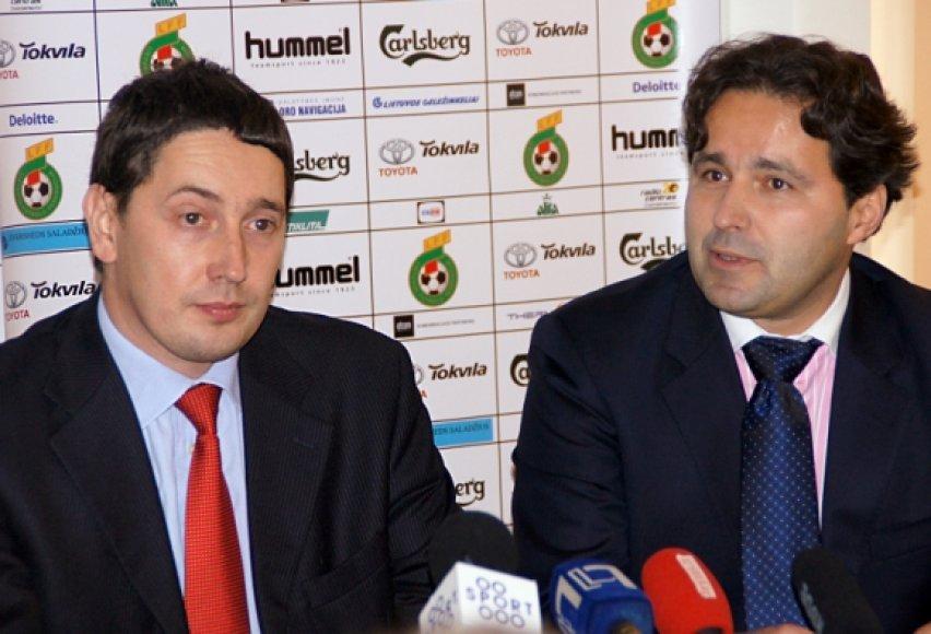 """General financing"" generalinis direktorius K.Balakinas ir LFF prezidentas L.Varanavičius"