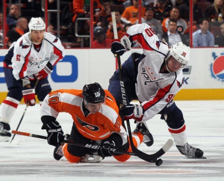 """Capitals"" – ""Flyers"" rungtynių akimirka"