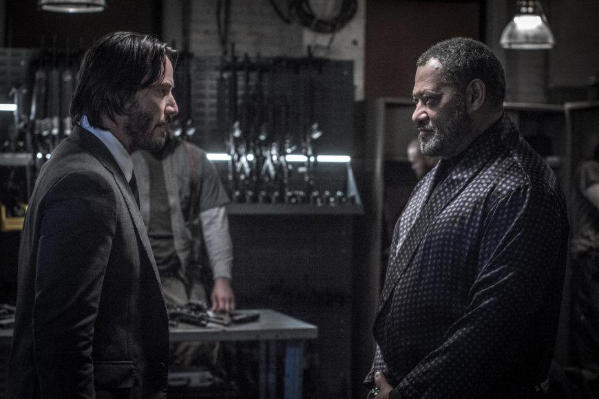 """Kadras iš filmo/Keanu Reevesas ir Lawrence'as Fishburne'as filme """"Džonas Vikas 2"""""""