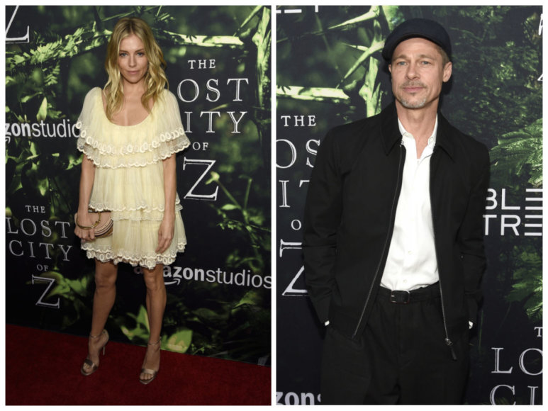 """""""Scanpix""""/AP nuotr./Bradas Pittas ir Sienna Miller balandį filmo """"Prarastasis miestas Z"""" premjeroje Los Andžele"""