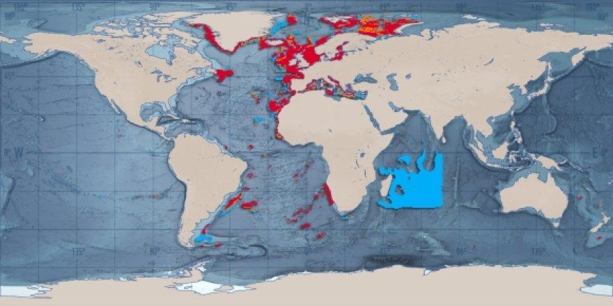 Raudona spalva pazymetos stipriai zvejybos pramones paveiktos teritorijos (WWF)