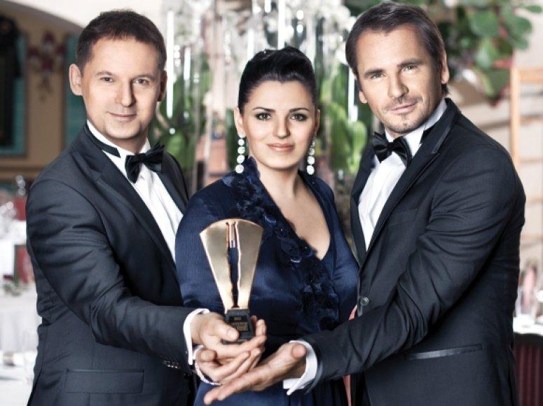 """""""Lietuvos garbės 2012"""" vedėjai Rokas Petkevičius, Renata Šakalytė ir Marijus Mikutavičius"""