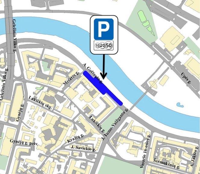 Mėlynai pažymėta teritorija, kuri nuo kovo 17 d. bus apmokestinta.
