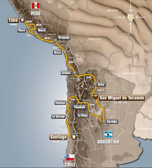 Dakaro ralio žemėlapis
