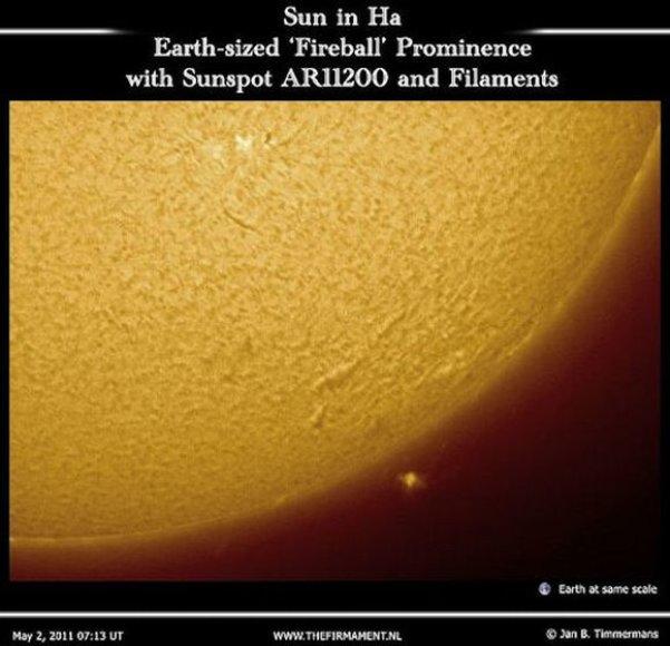 Janas Timmermansas užfiksavo, kaip nuo Saulės atitrūko milžiniškas ugnies kamuolys.