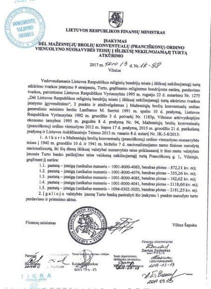 15min/Finansų ministro įsakymas dėl vienuolyno perdavimo