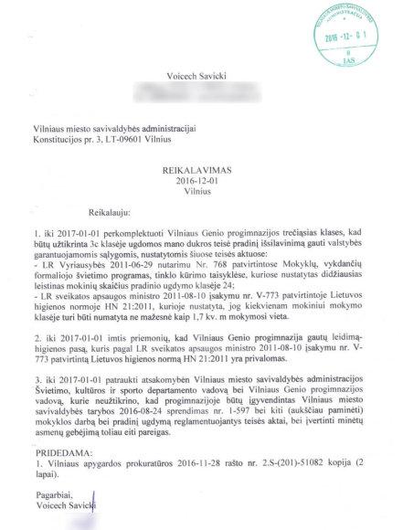 Voicecho Savickio reikalavimų Vilniaus m. savivaldybei sąrašas
