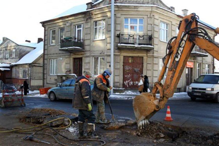 Žemaičių gatvėje trūko vandentiekio vamzdis