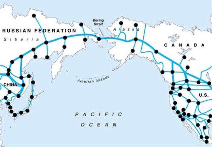 Taip atrodytų magistralė, jungianti Aziją su Šiaurės Amerika