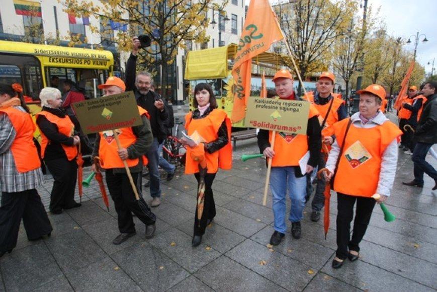 Profsąjungų protesto akimirka