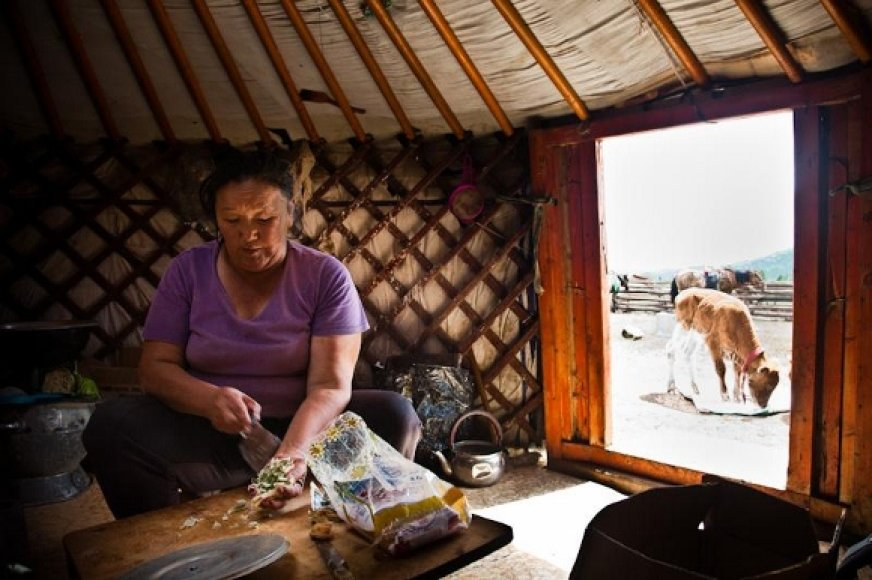 Mongolų šeimos šeimininkė