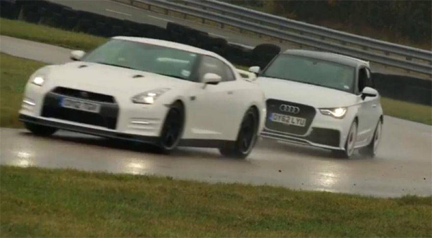 """Nissan GT-R"" prieš ""Audi A1 Quattro"""