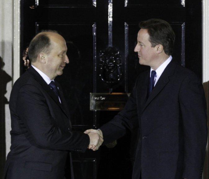 Andrius Kubilius, left, and David Cameron