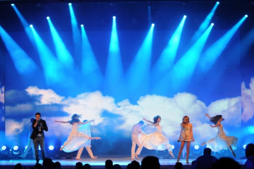 Eurovision winners El, left, and Nikki, second right, of Azerbaijan perform during the Semi-Final Allocation Draw for the 2012 Eurovision Song Contest in Baku, Azerbaijan.