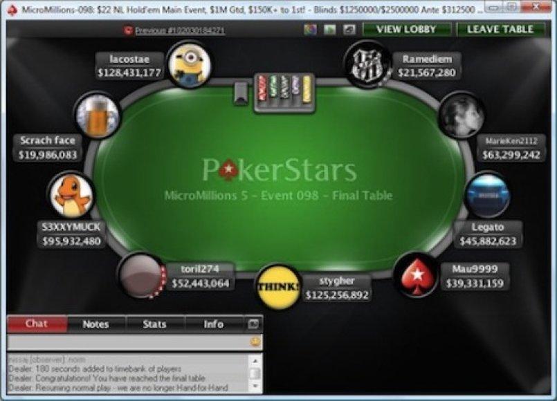 """""""MicroMillions"""" pagrindinio turnyro finalo startas / PokerStarsBlog.com nuotr."""