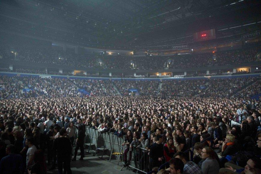 "Luko Balandžio/15min.lt nuotr./""Imagine Dragons"" koncerto Vilniuje akimirka"