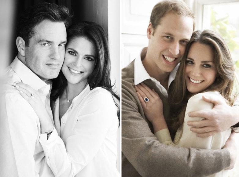 Sužadėtuvių nuotraukos: Madeleine ir Christopheris O'Neillas (kairėje) bei princas Williamas ir Catherine