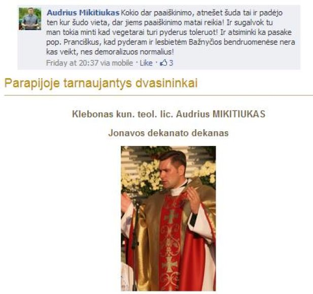 """Kunigo Audriaus Mikitiuko komentarai """"Facebook"""""""