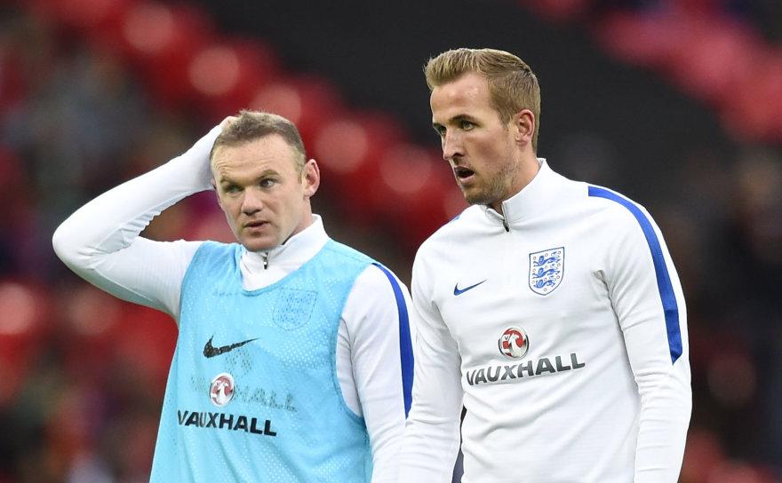 """""""Scanpix"""" nuotr./Wayne'as Rooney ir Harry Kane'as su Lietuva nežais"""
