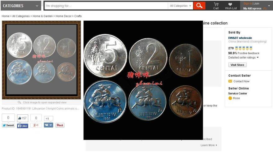 Kiniečių nukaldinti lietuviški centai
