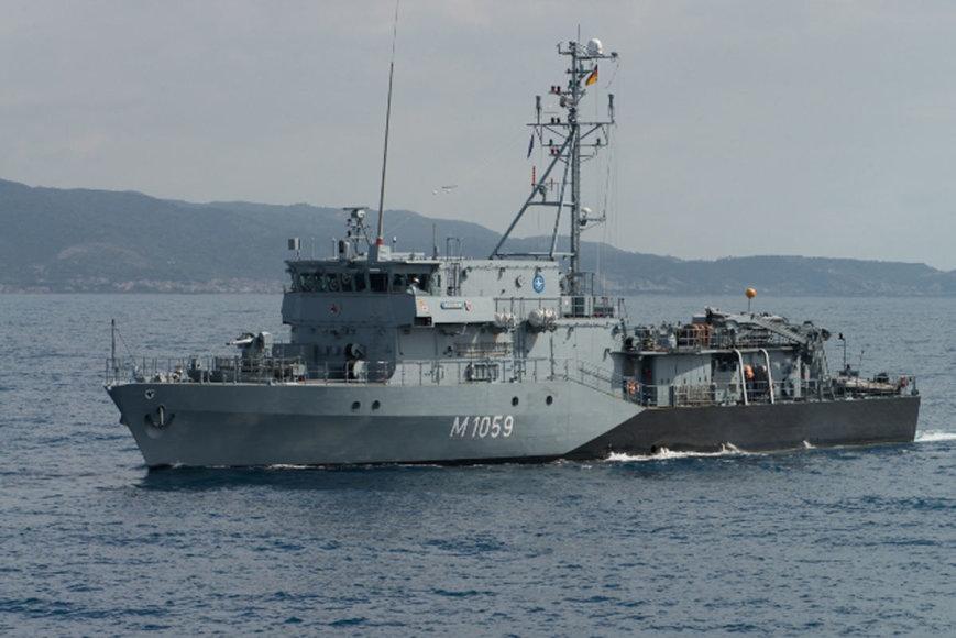 KAM nuotr,/Vokietijos karinio laivyno priešmininis laivas FGS WEILHEIM
