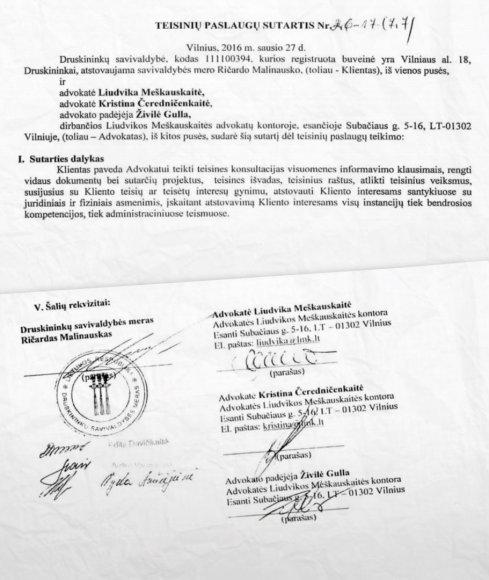 15min.lt nuotr./Druskininkų savivaldybės ir L.Meškauskaitės advokatų kontoros sutarties ištraukos