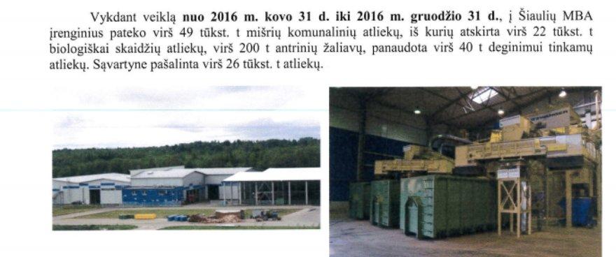 Ištrauka iš Šiaulių regiono atliekų tvarkymo centro metinės ataskaitos/Šiaulių atliekų rūšiavimo gamykla pernai perdirbimui pateikė tik apie 200 tonų atliekų
