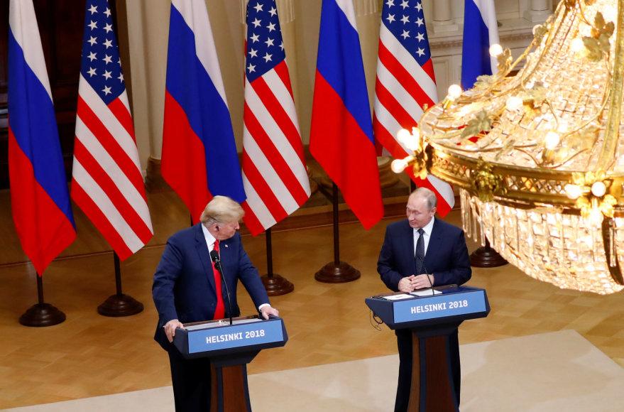 """""""Reuters""""/""""Scanpix"""" nuotr./Donaldo Trumpo ir Vladimiro Putino spaudos konferencija"""