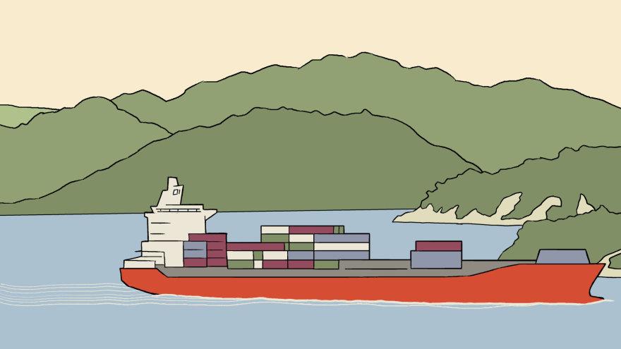 """Skirmanto Malinausko iliustracija/Krovininis laivas """"Cape Martin"""" gabena krovinį į Naująją Zeladniją"""