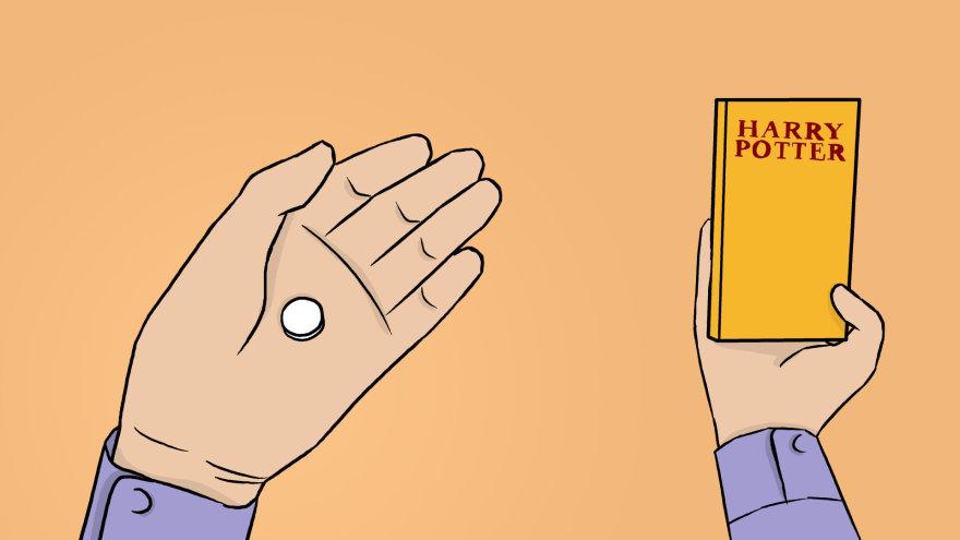 """Skirmanto Malinausko iliustracija/Pakete buvo knyga """"Haris Poteris ir Fenikso brolija"""" ir 35 LSD tabletės"""