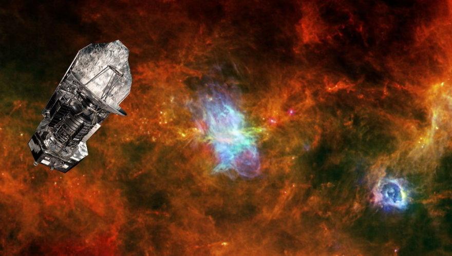 """Fotomontažinė iliustracija, kurioje pavaizduotas """"Herschel"""" kosminis teleskopas virš besiformuojančios žvaigždės regiono"""