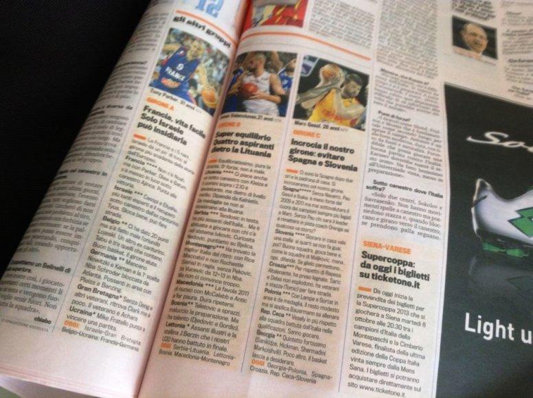 """Dienraščio """"La Gazzetta dello Sport"""" prognozė: Lietuva verta medalių"""