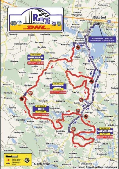 """Organizatorių žemėlapis/""""DHL Rally Elektrėnai"""" greičio ruožai"""