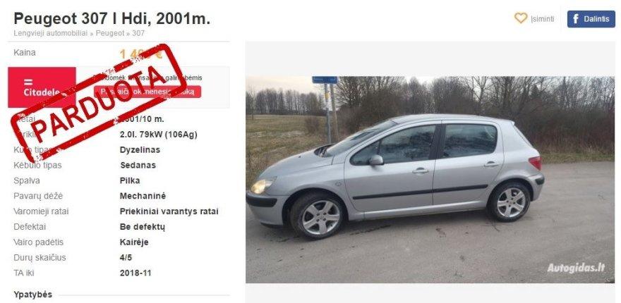 """""""Peugeot 307"""" skelbimas"""