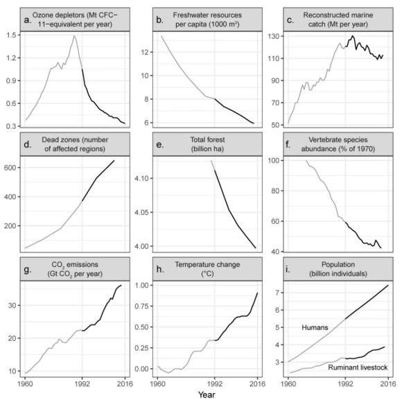 Pasaulio mokslininkų aljanso nuotr./Per pastaruosius 25 metus planetos būklė blogėjo visais atžvilgiais, išskyrus ozono sluoksnį naikinančių dujų gamybą
