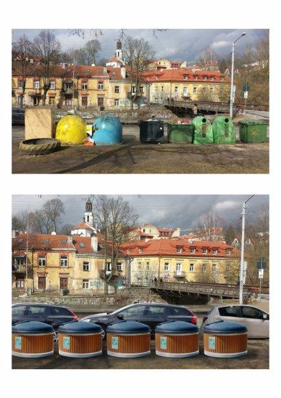"""Projekto partnerio nuotr./Dabartiniai ir """"Molok"""" konteineriai"""