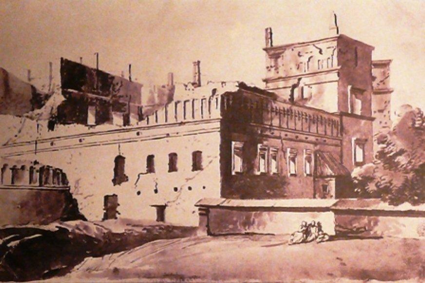 Pranciškaus Smuiglevičiaus piešinyje - Valdovų rūmų griuvėsiai