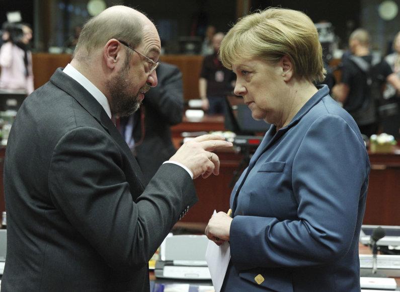M.Schulzas ir A.Merkel 2013 metais