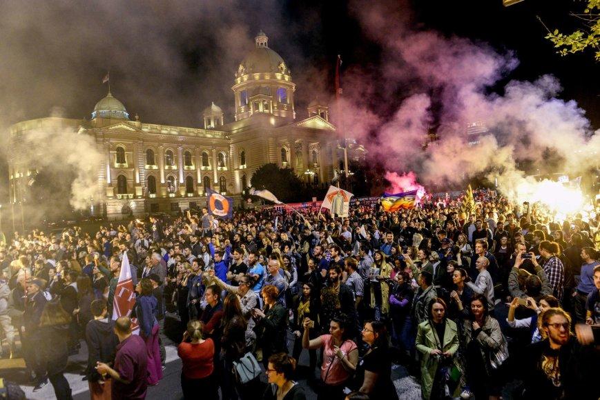 Protestai prieš A.Vučičiaus valdžią Belgrade