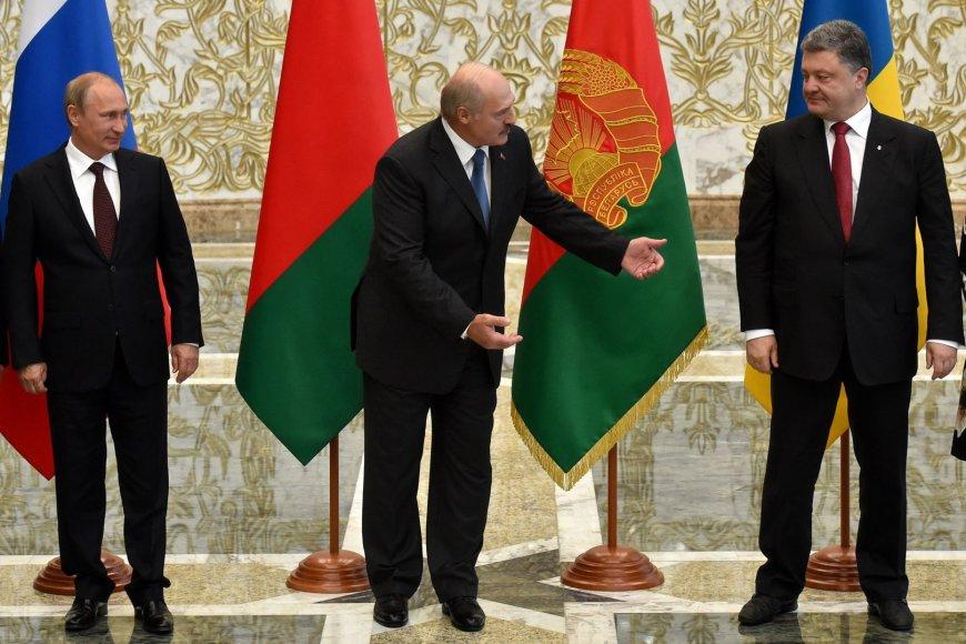 Rusijos prezidentas Vladimiras Putinas, Baltarusijos prezidentas Aleksandras Lukašenka, Ukrainos prezidentas Petro Porošenka