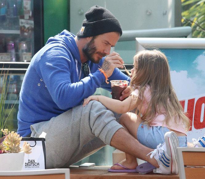 Davidas Beckhamas su dukra Harper