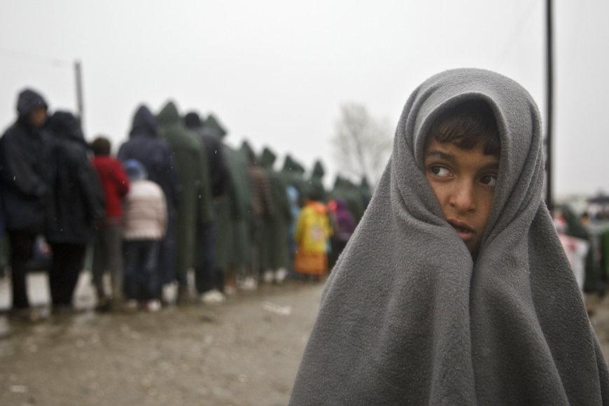 Pabėgėliai ir migrantai stovykloje Idomenyje