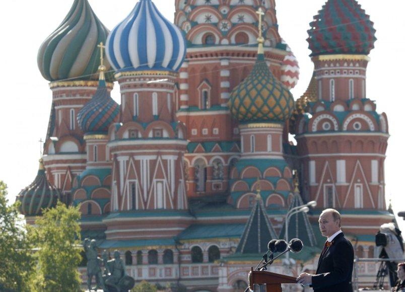 Rusijos prezidentas Vladimiras Putinas Maskvos Raudonojoje aikštėje
