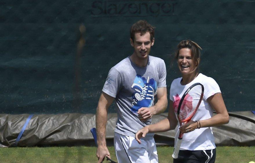 Andy Murray ir Amelie Mauresmo treniruotėse