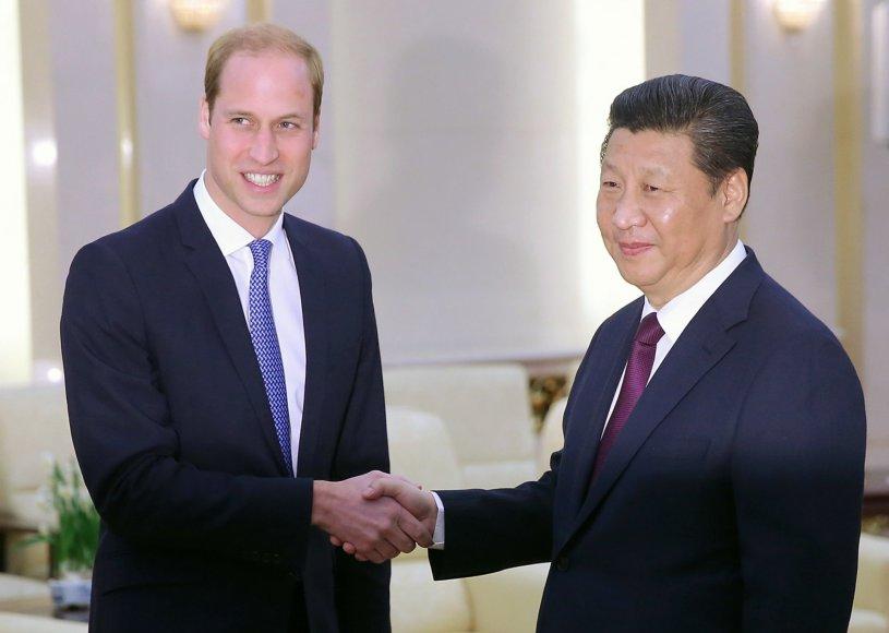 Didžiosios Britanijos princas Williamas ir Kinijos prezidentas Xi Jinpingas