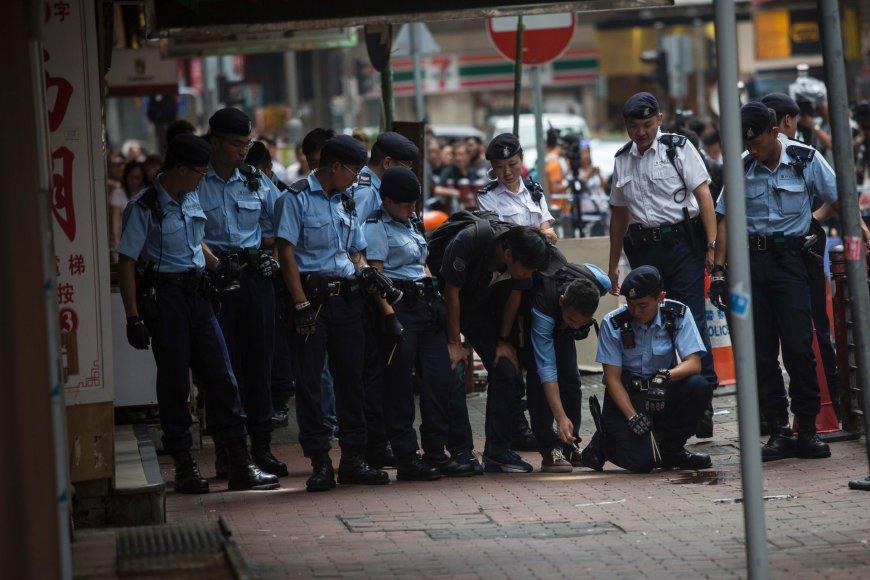 Honkongo policija įvykio vietoje