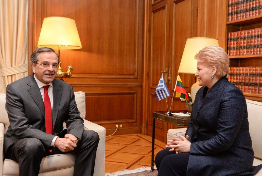 Graikijos ministras pirmininkas Antonio Samaras ir Lietuvos prezidentė Dalia Grybauskaitė