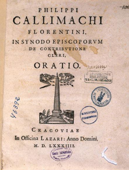 Šv.Kazimiero ir jo brolių auklėtojo Pilypo Buonakorsio Kalimacho knygos faksimilė